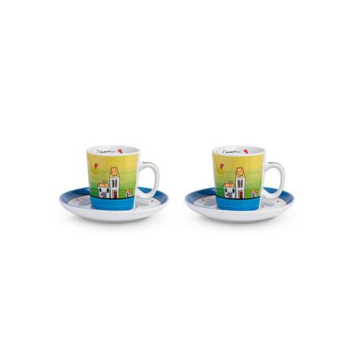Set 2 Tazze caffè con piattini Le Casette blu